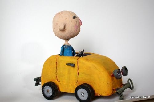 assemblage, gerard collas,voiture jaune