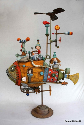 gérard collas, sculpture, poisson assemblage