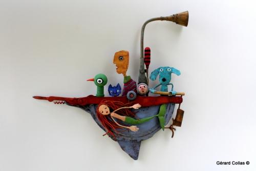 gérard collas,sculpture, assemblage art brut singulier,bateau,sirène