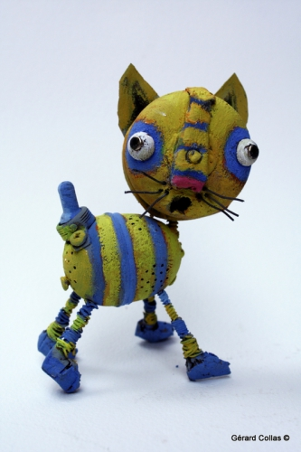 chat ,assemblage art brut singulier