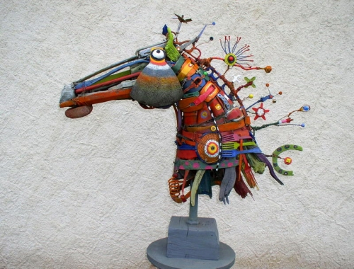 cheval assemblage,gérard collas -sculpteur,sculpture,art singulier
