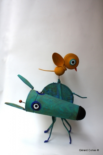 chien,oiseau,collas,assemblage, art, carennac, 46