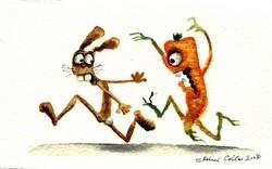 carotte courant après un lapin,gérard collas, aquarelle.jpg