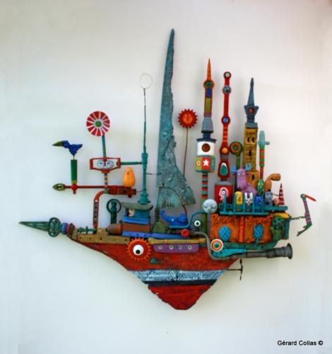 gérard collas, assemblage art brut singulier,bateau, cirque des chimères