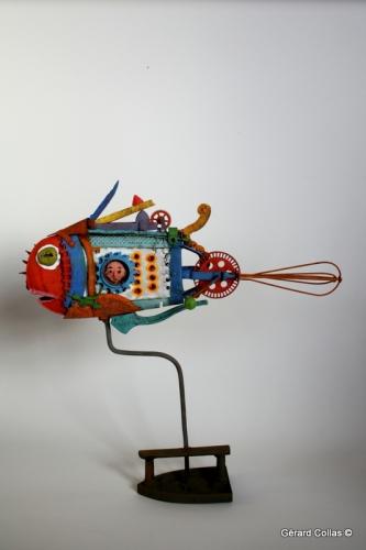 poisson fouet,rape,assemblage,art, singulier,brique